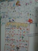 """A manta de """"retalhos"""" criada com os desenhos da pequenada e família"""